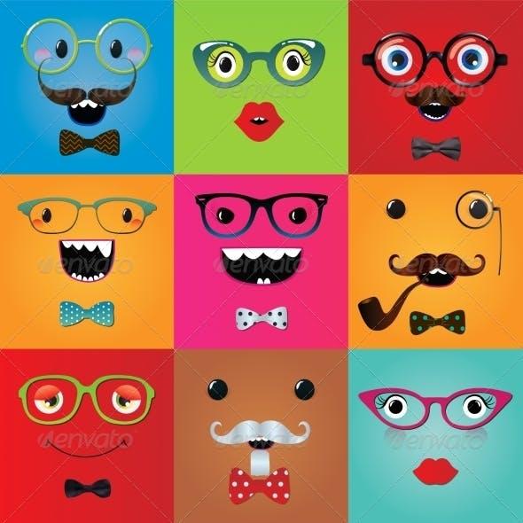 Set of Hipster Monster Eyes
