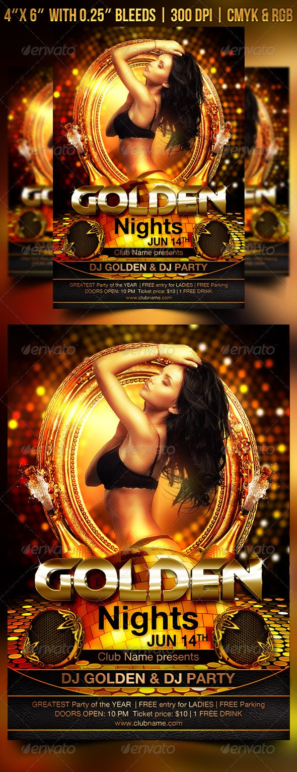 Golden Nights Flyer - Clubs & Parties Events