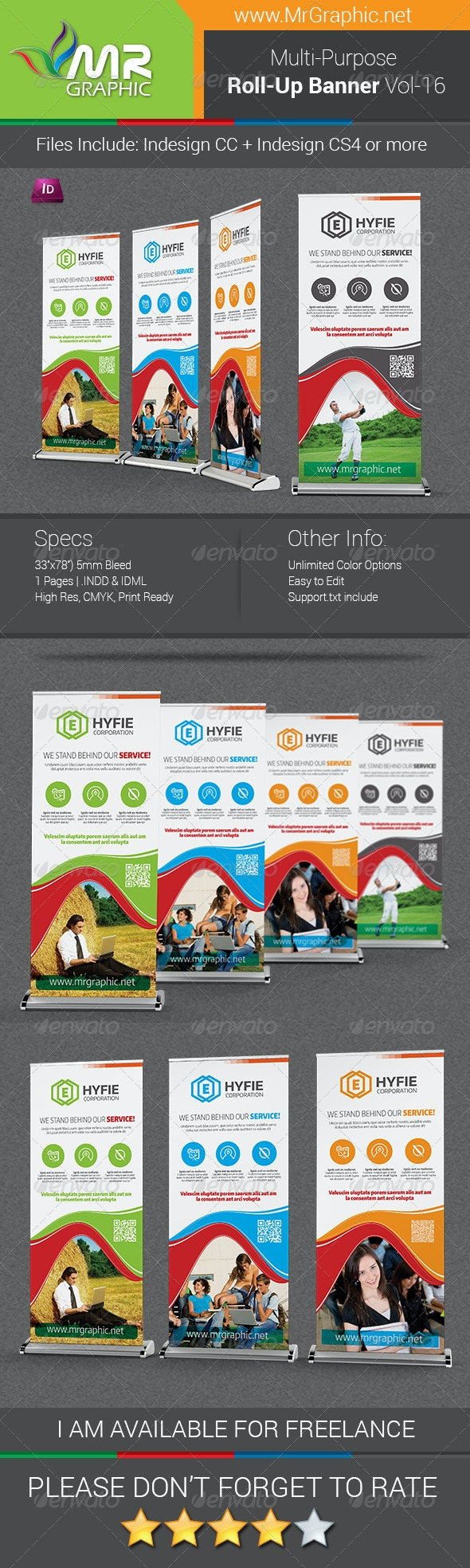 Multipurpose Business Roll-Up Banner Vol-16 - Signage Print Templates