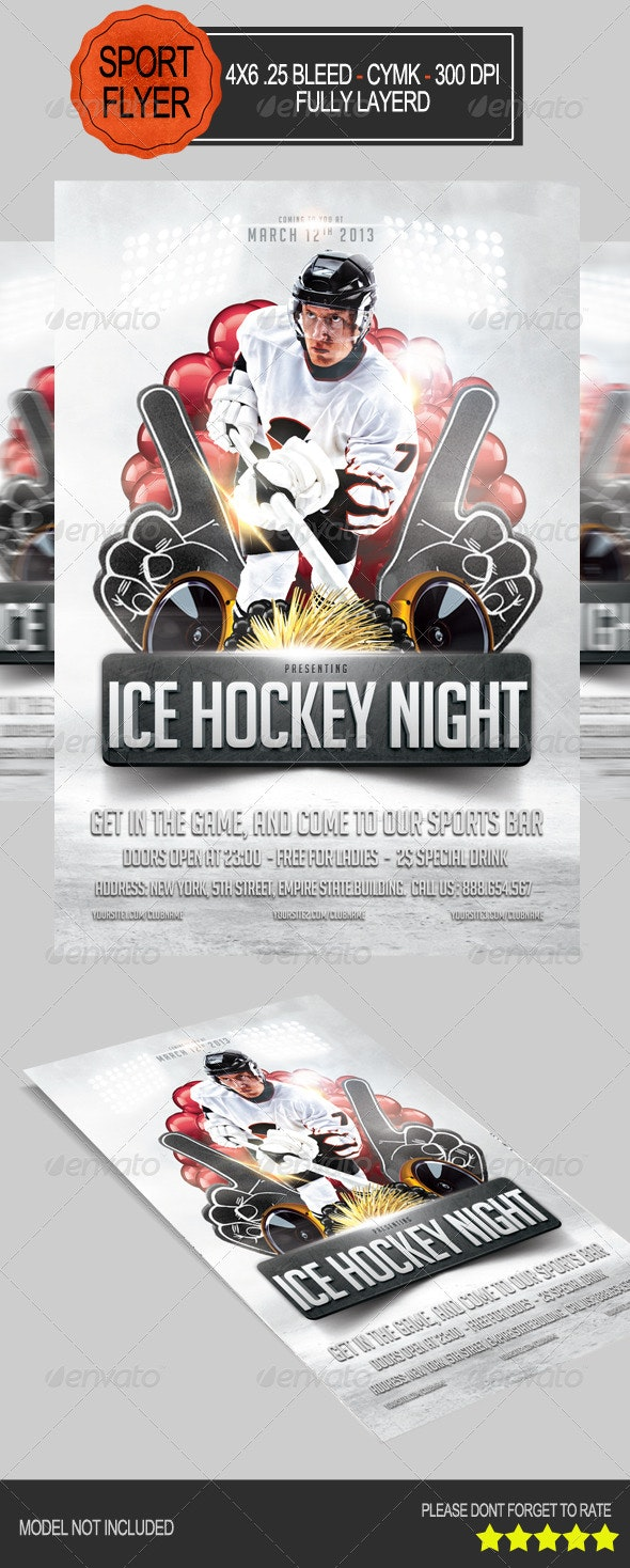 Ice Hockey Night Party Flyer - Clubs & Parties Events