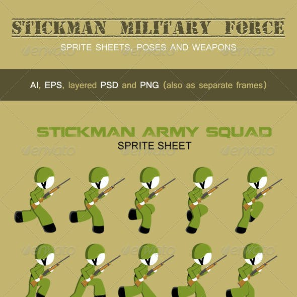 Stickman Military Force Sprite Sheets