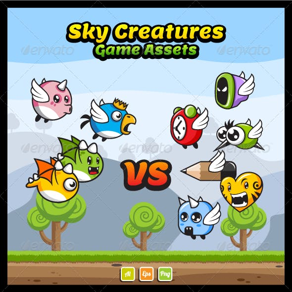 Sky Creatures Game  Assets