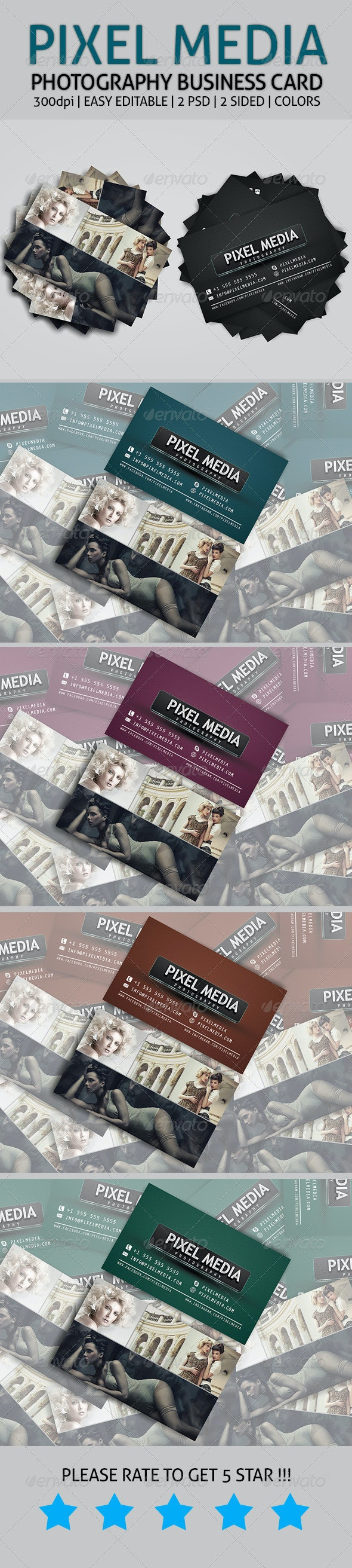 Pixel Media - Photography Business Card - Industry Specific Business Cards