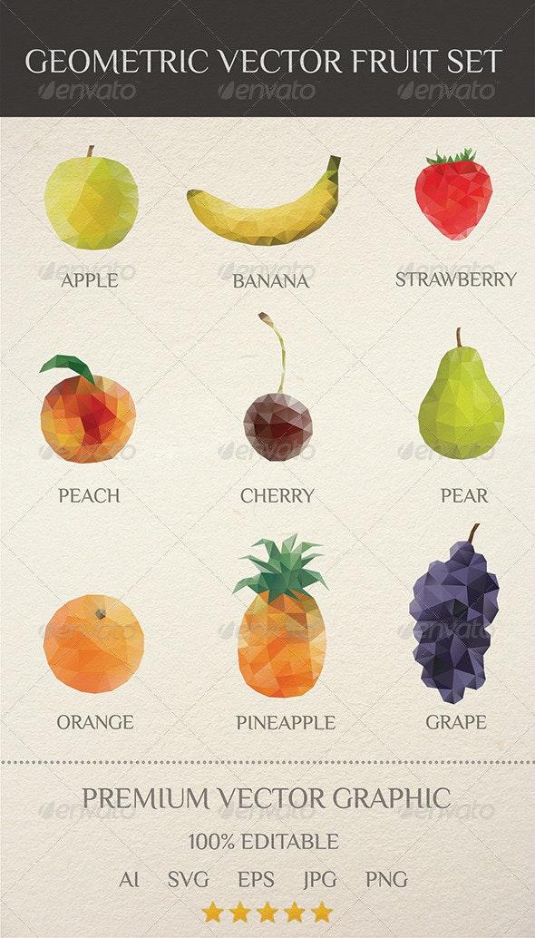 Geometric Vector Fruit Set - Food Objects