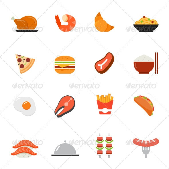 Food Icons Flat Design - Food Objects