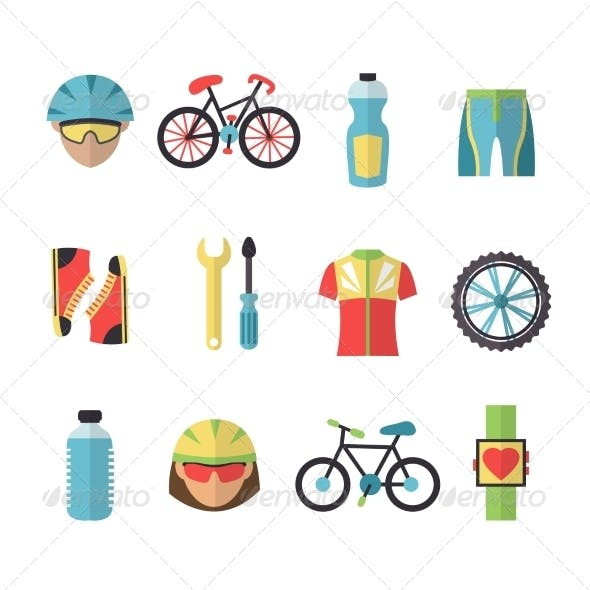 Bicycle Sports Icons Set