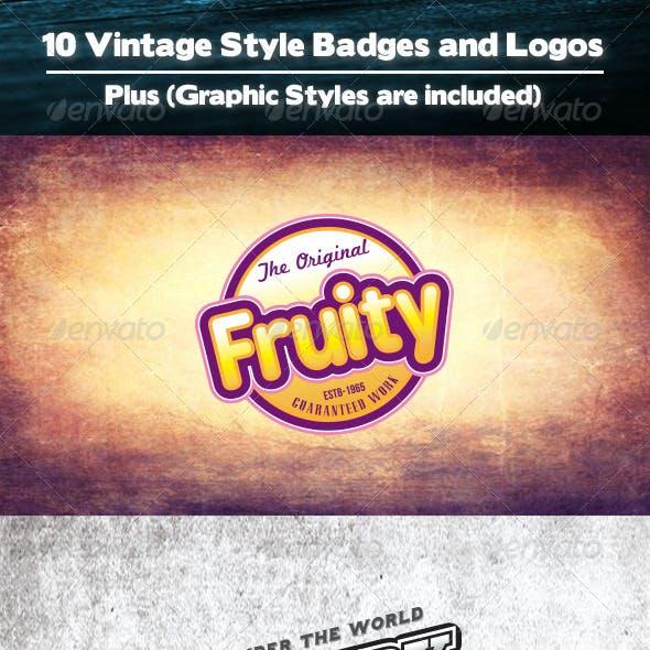 10 Vintage Badges Plus Graphic Styles