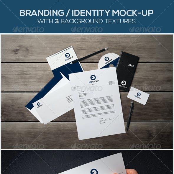 8 Branding / Identity Mock-ups with 3 Textures