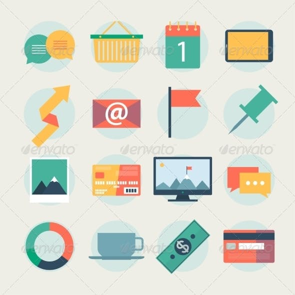 Modern Flat Icons Collection Web Design