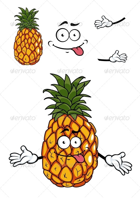 Pineapple Cartoon - Food Objects
