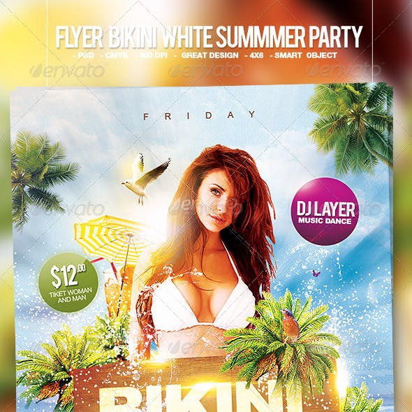 Flyer Bikini White Summer Party