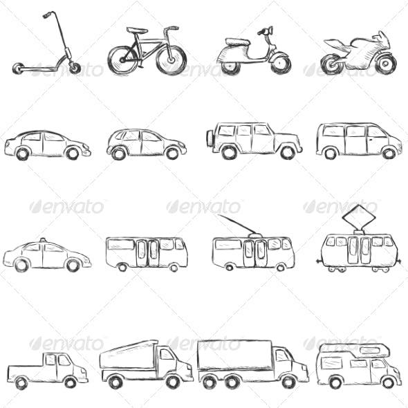 Sketch Set of Ground Transportation Icons
