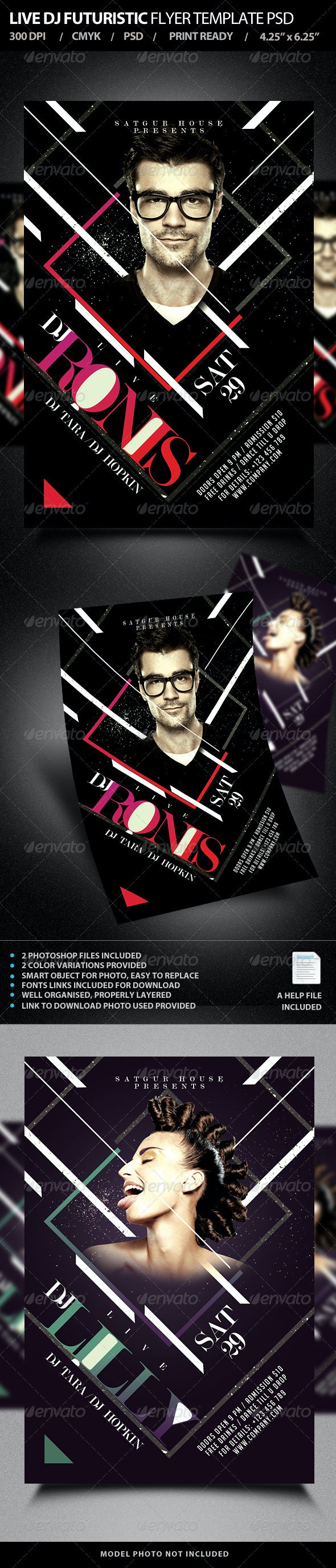 Live DJ Flyer Template PSD V2 - Clubs & Parties Events