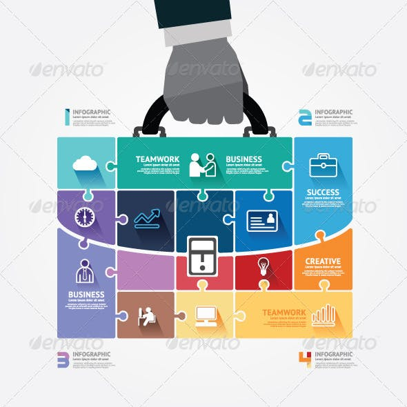 Infographic Businessman Hand Hold Business Bag