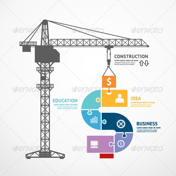 Infographic Template Construction Tower Crane