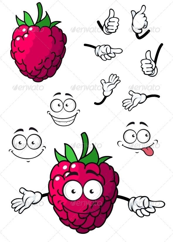 Cartoon Raspberry - Food Objects