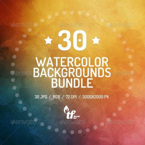 30 Watercolor Backgrounds Bundle