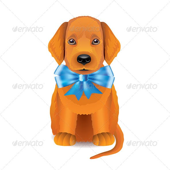Red Puppy with Blue Bow
