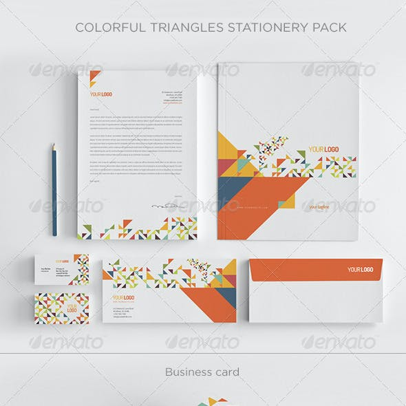 Colorful Triangles Stationery Pack