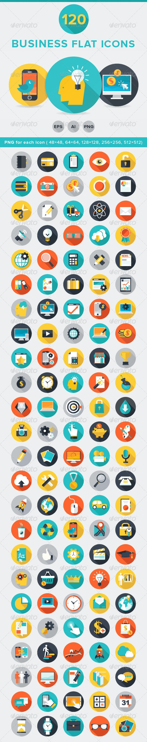 120 Business Flat Icons  - Business Icons