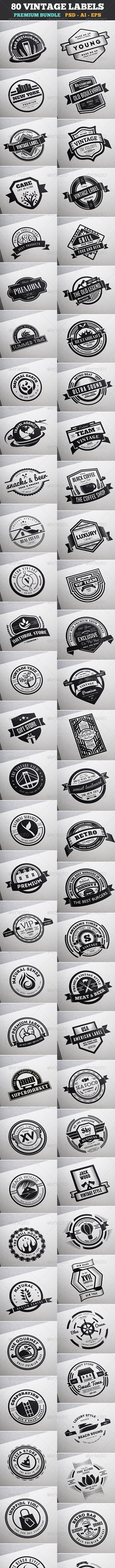 80 Vintage Labels & Badges Logos Bundle - Badges & Stickers Web Elements