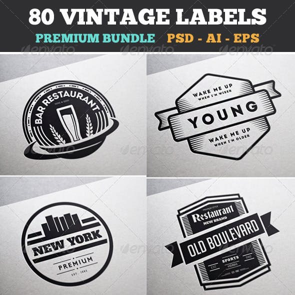 80 Vintage Labels & Badges Logos Bundle