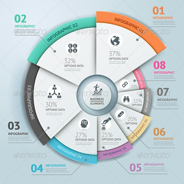 Business Infographic Circle Icon Template - Infographics