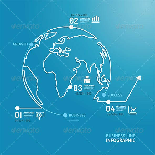 World Business Diagram Line Style  Design Template