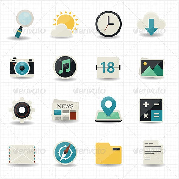 Web Internet Icons and Mobile Icons with White Bac