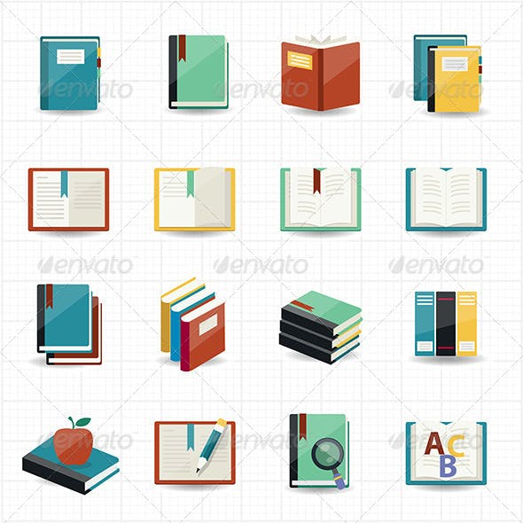 Books Icons and Library Icons