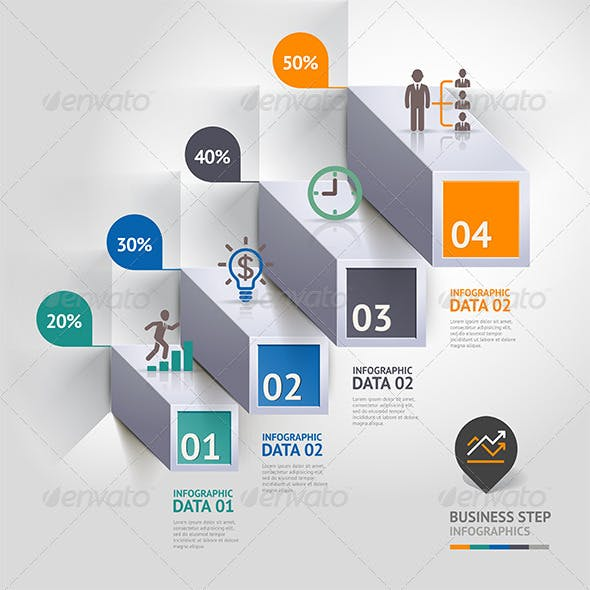 Business Infographic Step Icon Template