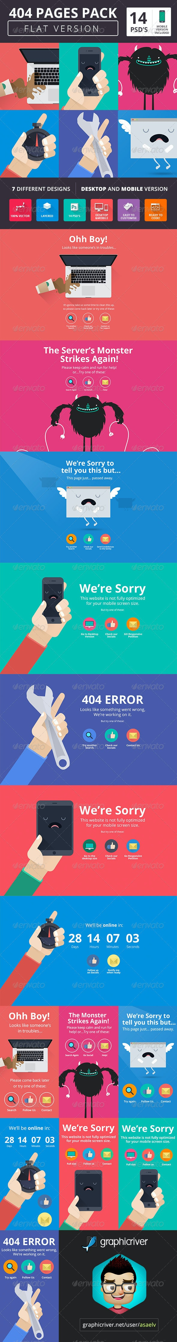 404 Pack Flat Style - 404 Pages Web Elements