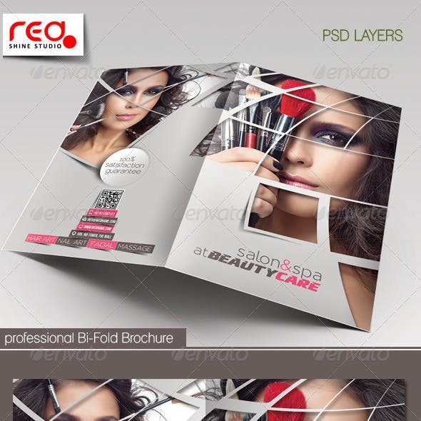 Beauty Care & Salon Bi-fold Brochure Template