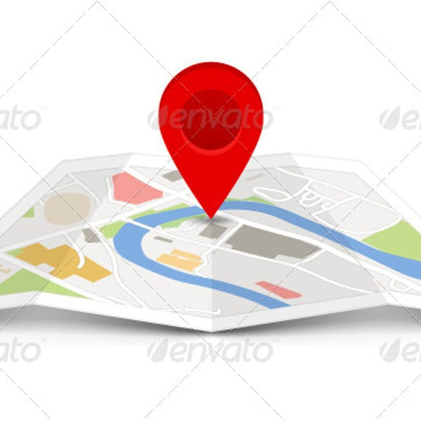 Map Icon with a Pin Pointer