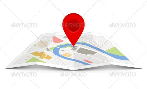Map Icon with a Pin Pointer - Travel Conceptual