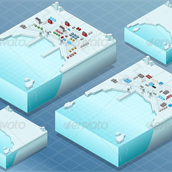 Isometric Arctic Bay with Town and Industry