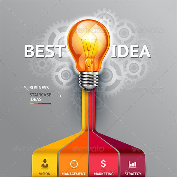 Business Lightbulb Infographic Idea Template.