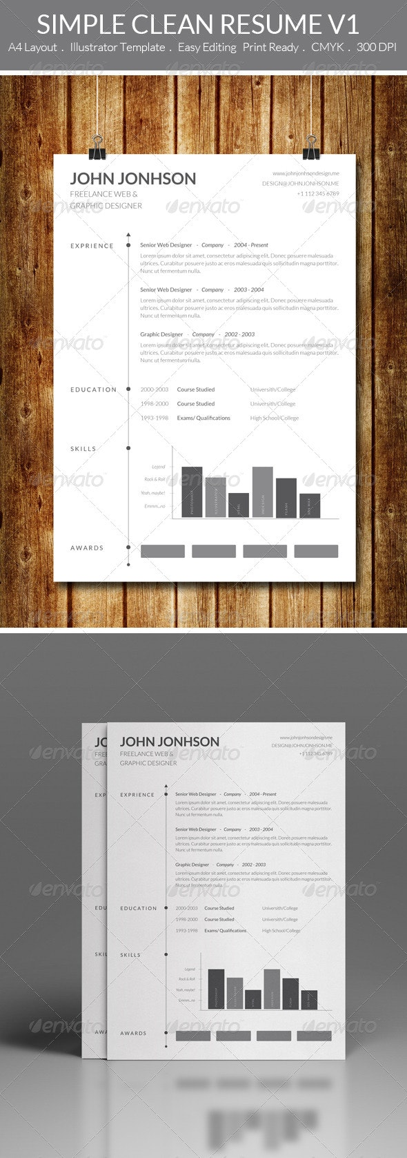 Simple Clean Resume V1 - Resumes Stationery
