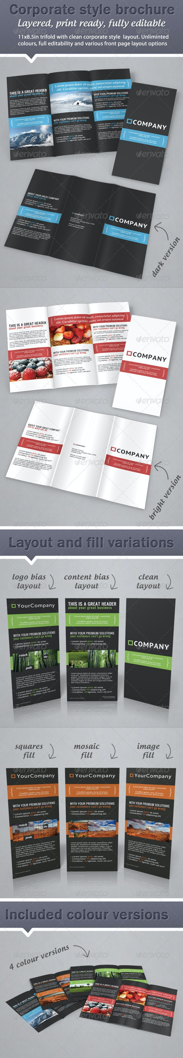 Corporate Business Style Trifold Brochure  - Corporate Brochures