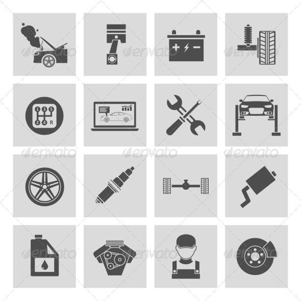 Auto Service Icons - Web Elements Vectors