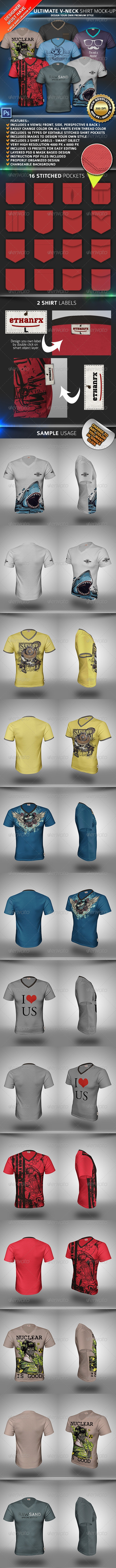 V-Neck T-Shirt Mockup - Apparel Product Mock-Ups