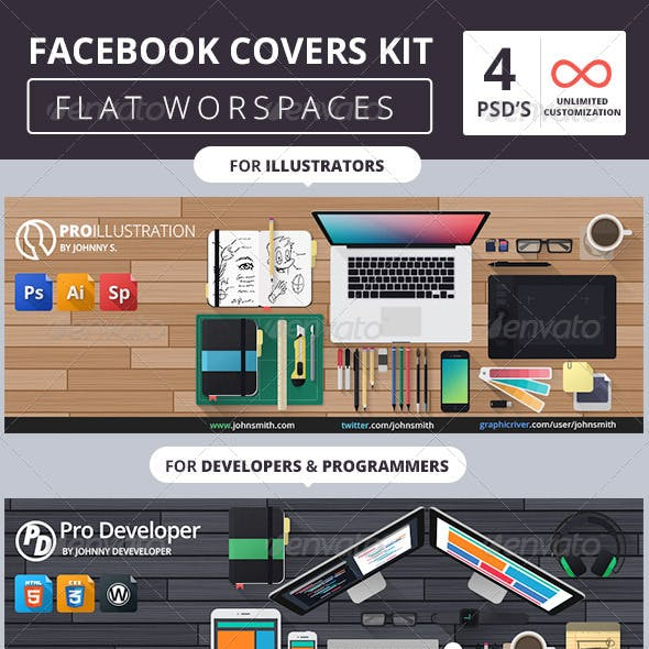 Facebook Covers Kit - Flat Workspaces
