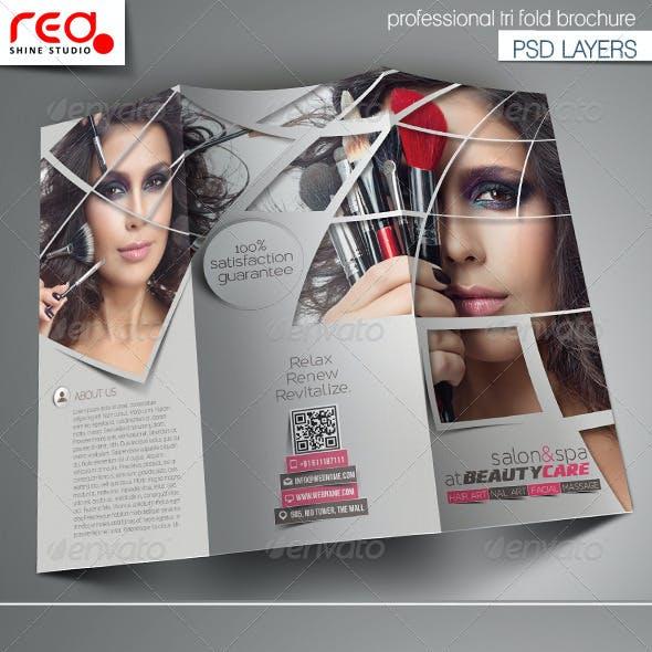 Beauty Care & Salon Trifold Brochure Template