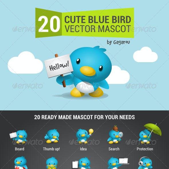 Cute Blue Bird Mascot Pack