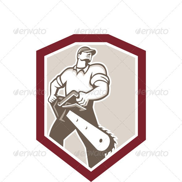 Lumberjack Arborist Holding Chainsaw Shield