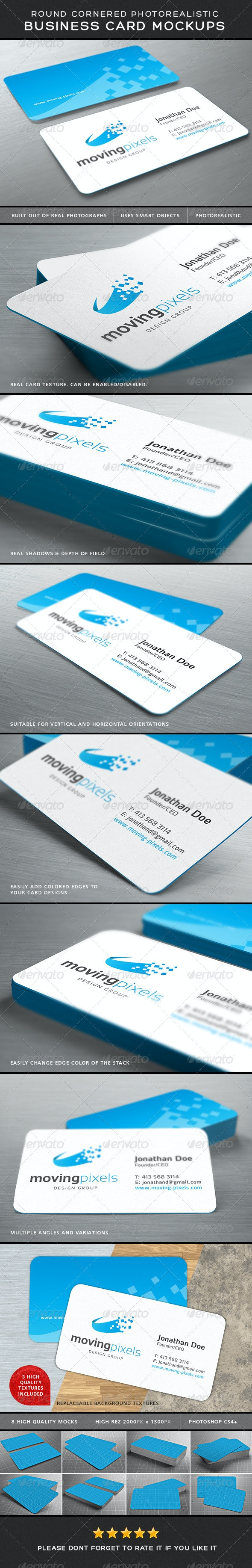 Photorealistic Business Card Mockup Round Corners - Business Cards Print