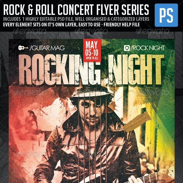Concert Club Flyer/Poster - Rock and Roll V.2