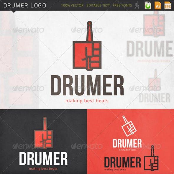 Drumer Hand Drumstick Logo Template