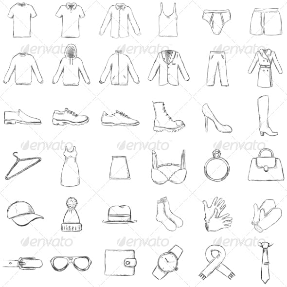 Vector Set of Sketch Clothes Icons