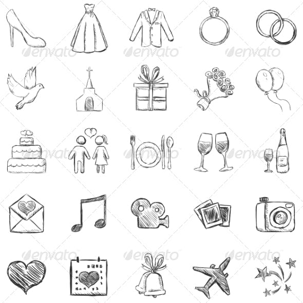 Set of Sketch Weddings Icons